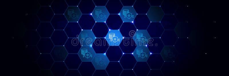 Slot, serverpictogram van Algemeen die gegevensproject in technologisch wordt geplaatst royalty-vrije illustratie