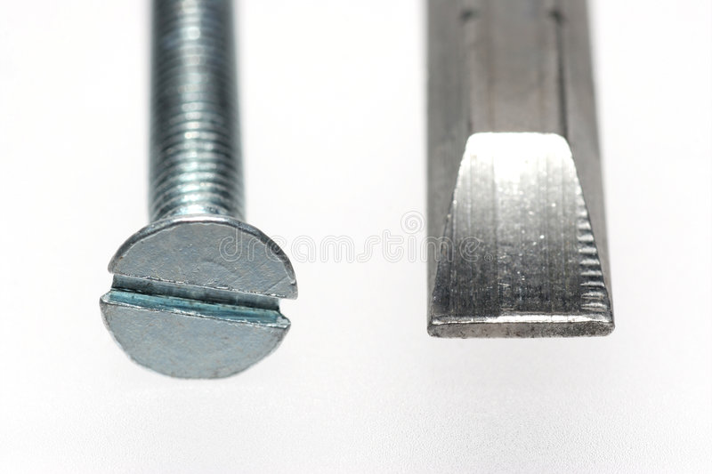 Sloted with screwdriver bit stock photography