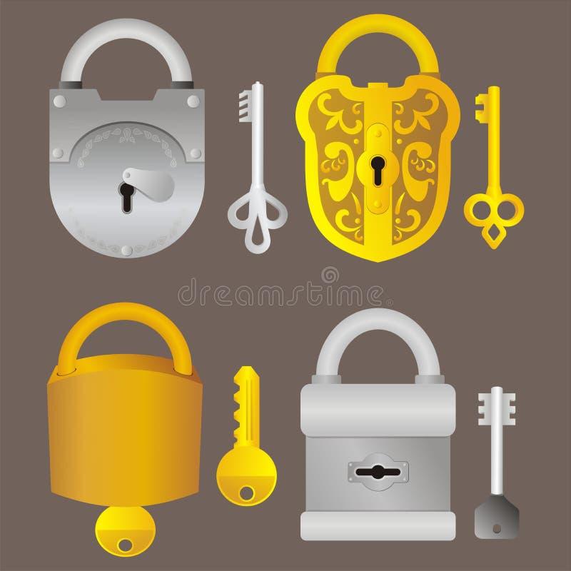 Sloten en sleutels stock foto's