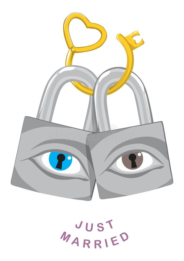 Sloten en voor altijd gebogen sleutel royalty-vrije illustratie
