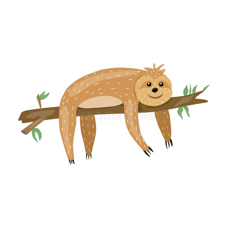Sloth. Animals Cute cartoon character. Scandinavian style. Lazy. Encouraging inscription. For printing on a postcard, a poster, a. Children s book royalty free illustration