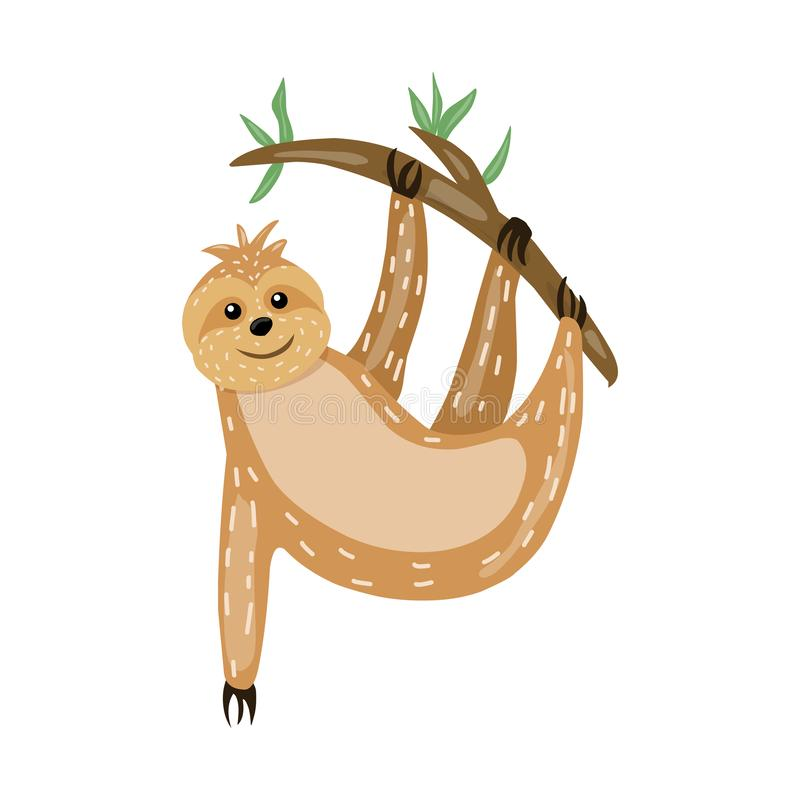 Sloth. Animals Cute cartoon character. Scandinavian style. Lazy. Encouraging inscription. For printing on a postcard, a poster, a. Children s book stock illustration
