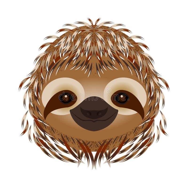 sloth Cabeça, cara, retrato Pele bege Estilo dos desenhos animados Sorrisos animais ilustração stock