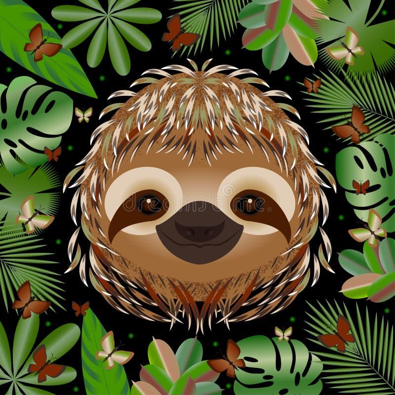 sloth Cabeça, cara, retrato Pele bege Estilo dos desenhos animados Sorrisos animais Quadro das folhas da selva ilustração stock