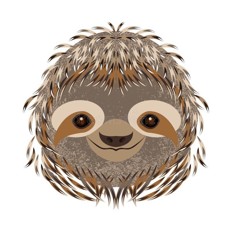 sloth Cabeça, cara, retrato Pele cinzenta Estilo dos desenhos animados Sorrisos animais ilustração stock