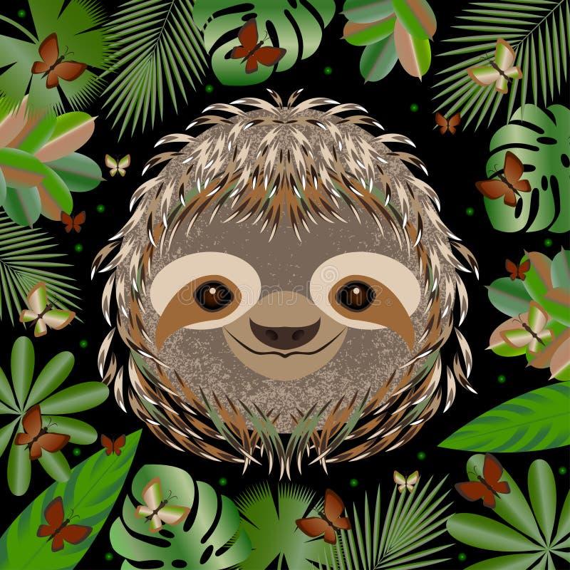 sloth Cabeça, cara, retrato Pele cinzenta Estilo dos desenhos animados Sorrisos animais Quadro das folhas da selva ilustração royalty free
