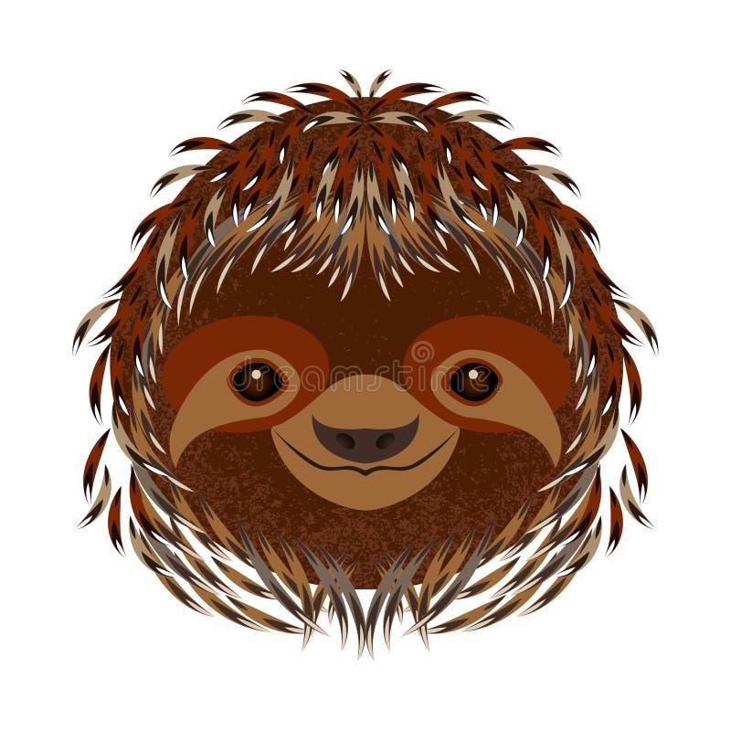 sloth Cabeça, cara, retrato Pele de Brown Estilo dos desenhos animados Sorrisos animais ilustração royalty free