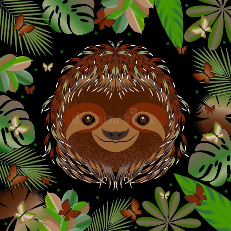 sloth Cabeça, cara, retrato Pele de Brown Estilo dos desenhos animados Sorrisos animais Quadro das folhas da selva ilustração royalty free