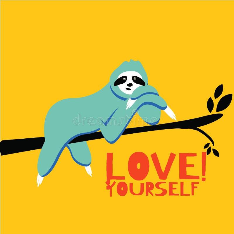 sloth Caráter animal bonito do urso de preguiça do vetor no ramo de árvore isolado no fundo amarelo brilhante ilustração do vetor