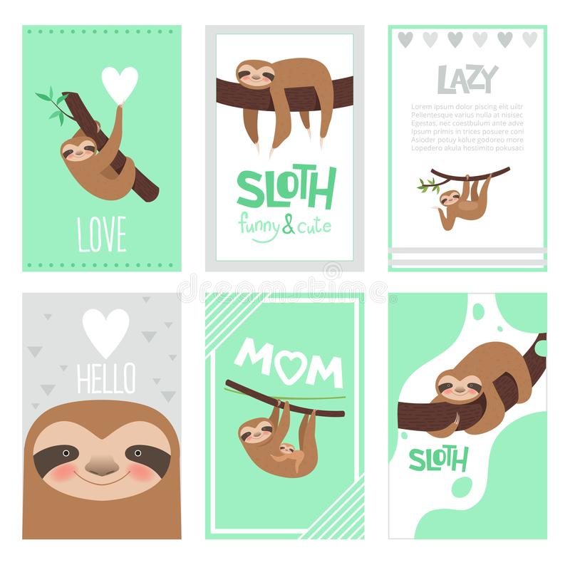 Sloth cards design. Pajama textile print with cute little sleepy animal on branch vector pictures collection stock illustration