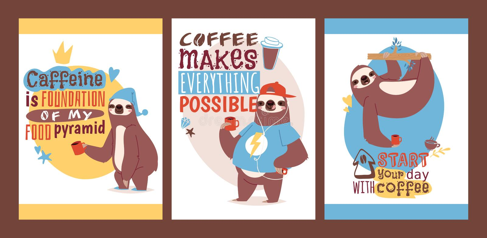 Sloth with cup of coffee set of animal cards. Enjoy the morning. illustration with textstart your day with coffee. vector illustration