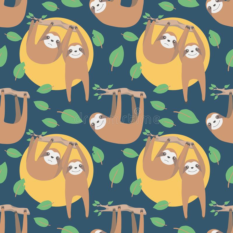 Sloth cute cartoon style animal seamless pattern on dark blue background royalty free illustration
