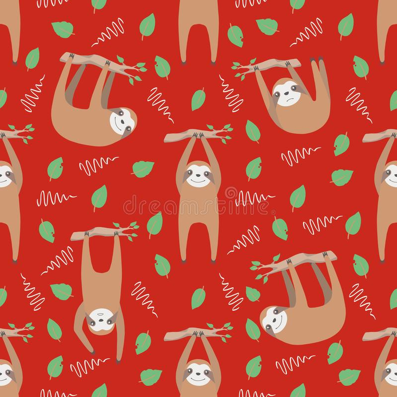 Sloth cute seamless pattern with trendy hanging cartoon style animals with leaves and branches on bright red background royalty free illustration