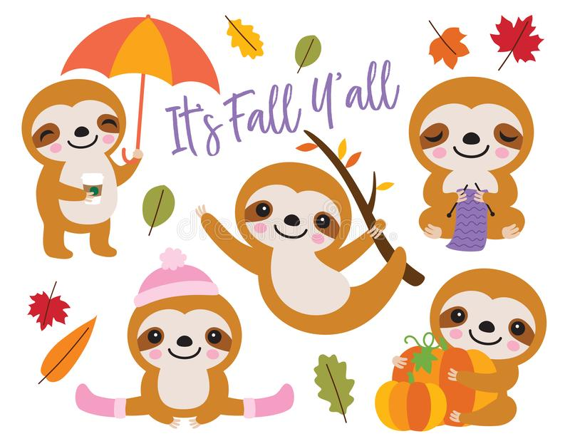 Cute Baby Sloth in Fall Autumn stock illustration