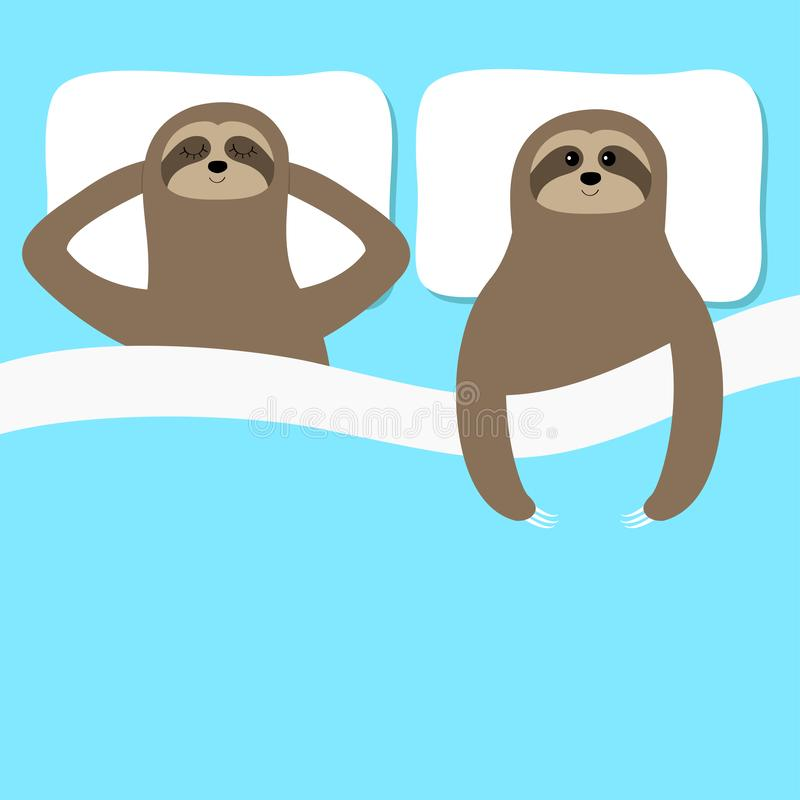 Sloth family love couple sleeping. Slow down. Cant sleep going to bed concept. Blanket pillow. Cute cartoon funny kawaii lazy. Character. Baby collection. Flat stock illustration