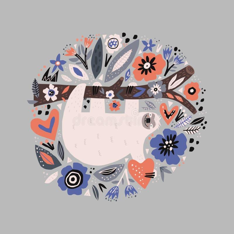 Sloth flat hand drawn circle illustration. Lazy cartoon animal character hanging on tree branch. Multicolor poppies flowers vector border. Sleepy mammal with stock illustration