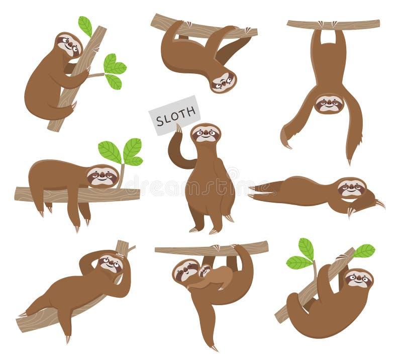 sloth Gulligt behandla som ett barn djura sengångare som hänger på trädfilial av roliga vektortecken för rainforesten vektor illustrationer