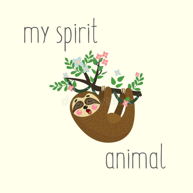 Sloth hanging on tree branch and yawn. Cute cartoon character. Wild jungle animal collection. My spirit animal. Vector. Illustration stock illustration