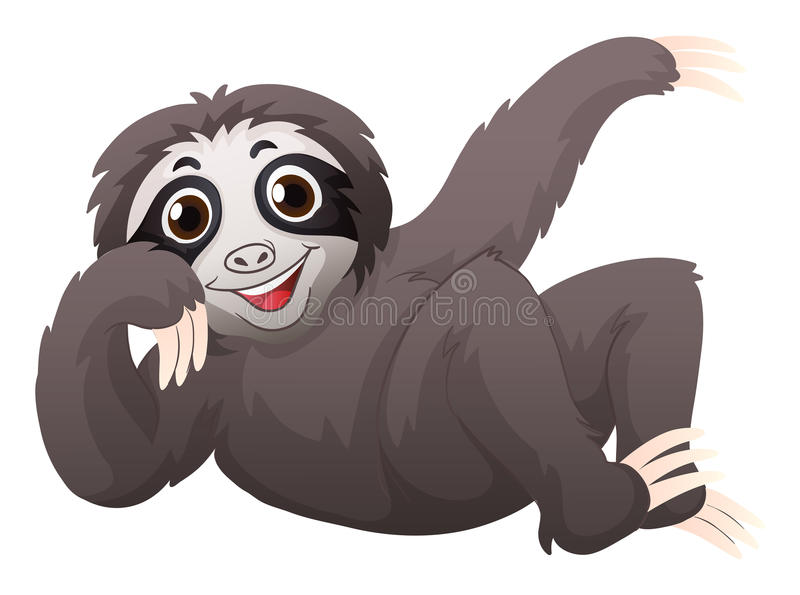Sloth with happy face. Illustration royalty free illustration