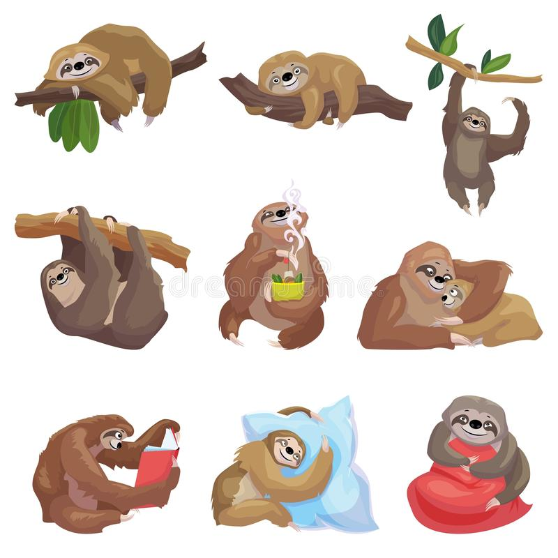 Sloth icons set, cartoon style stock illustration