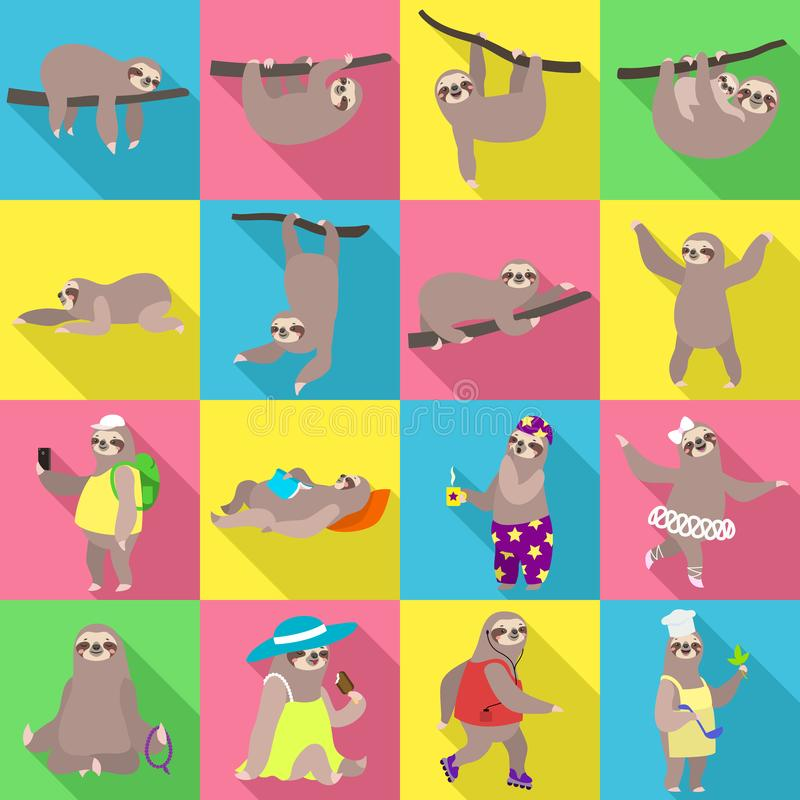 Sloth icons set, flat style royalty free illustration