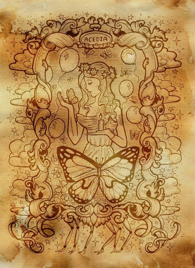 sloth Il Acedia latino di parola significa la disperazione Concetto di sette peccati capitali su vecchio fondo di carta illustrazione vettoriale