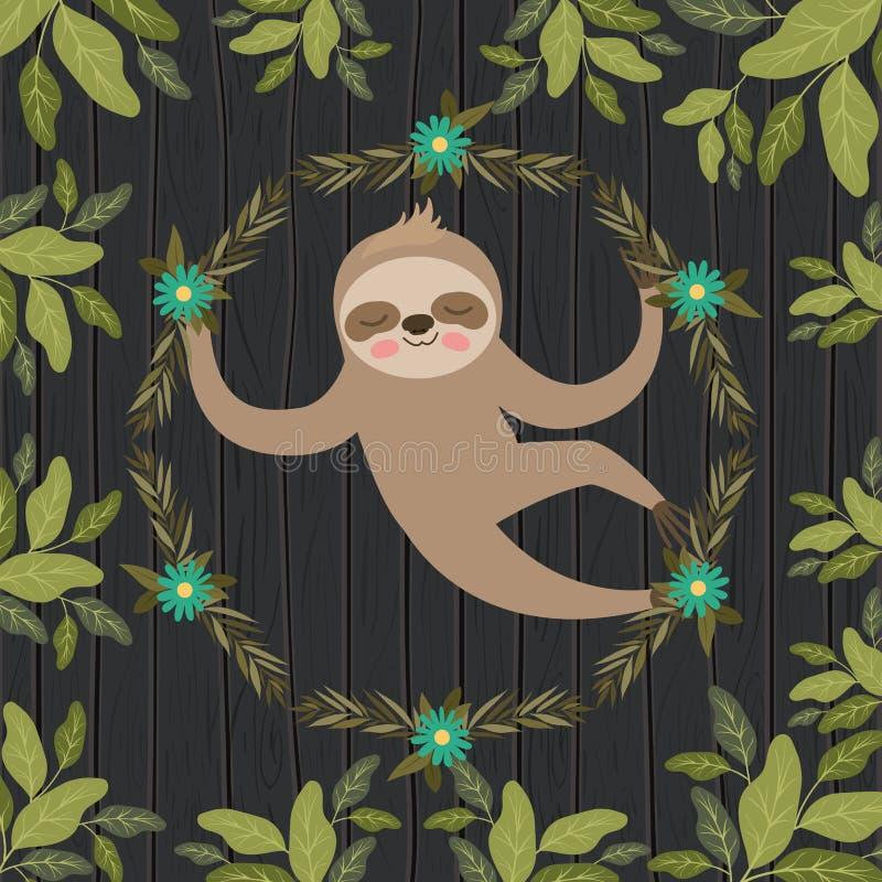 Sloth in the jungle scene. Vector illustration design royalty free illustration