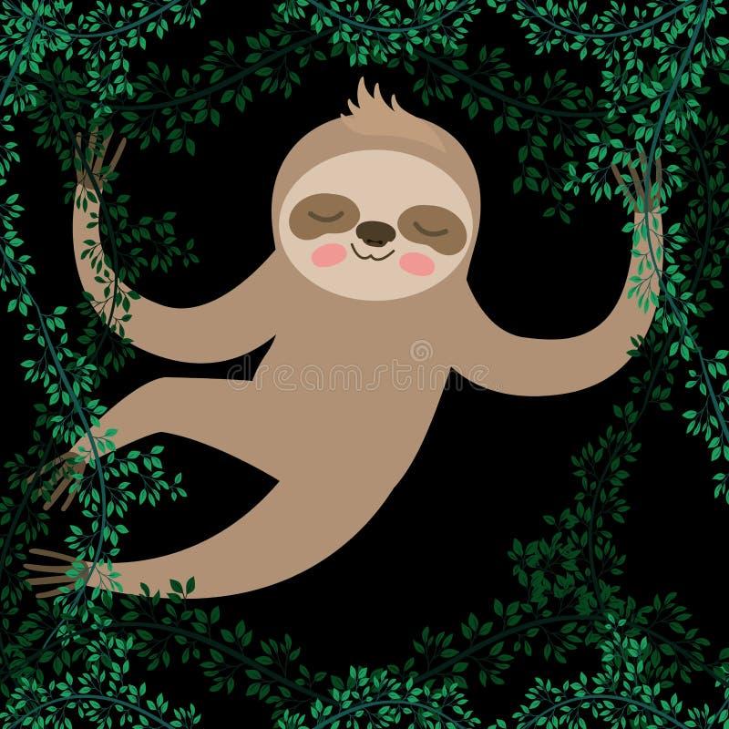 Sloth in the jungle scene. Vector illustration design stock illustration