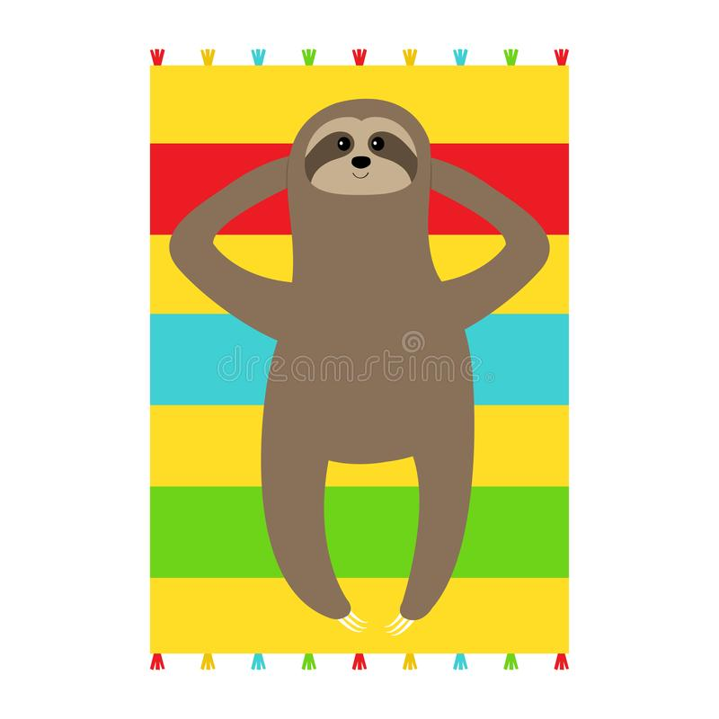 Sloth laying on beach towel. Slow down. Cute cartoon funny kawaii lazy character. Wild jungle animal collection. Baby education. Isolated. White background stock illustration