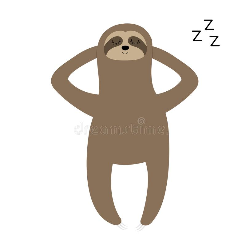 Sloth laying on the floor. Sleeping sign zzz. Slow down. Cute cartoon funny kawaii lazy character. Wild jungle animal collection. Baby education. Isolated vector illustration