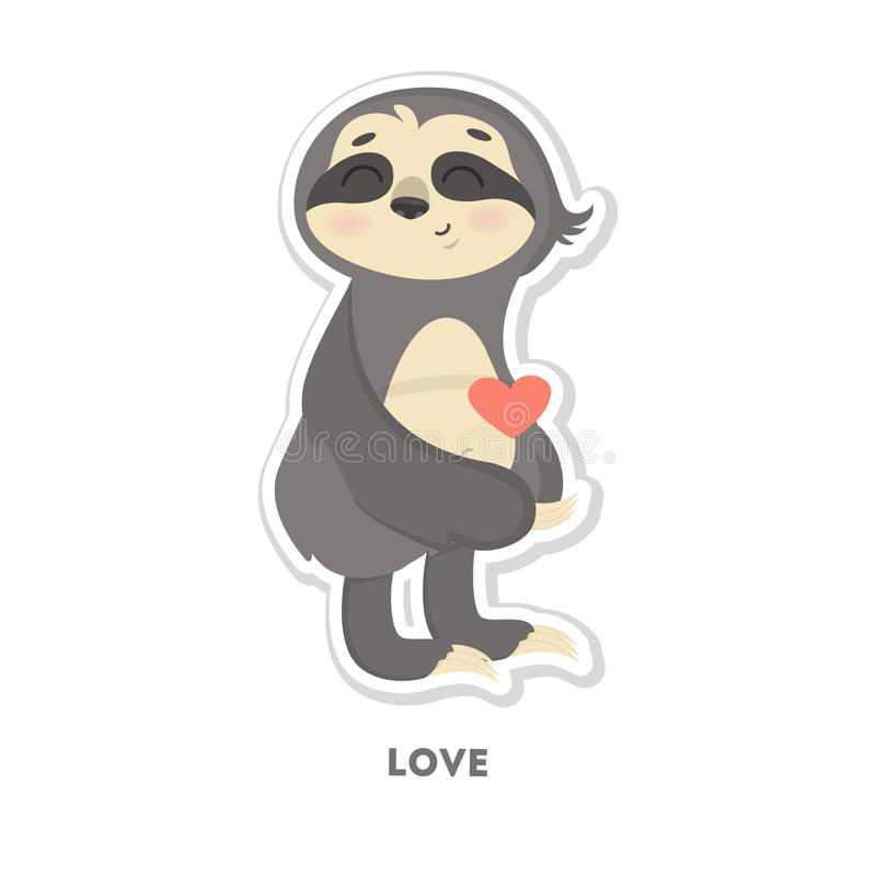 Download sloth in love sticker stock vector illustration of love 107860430