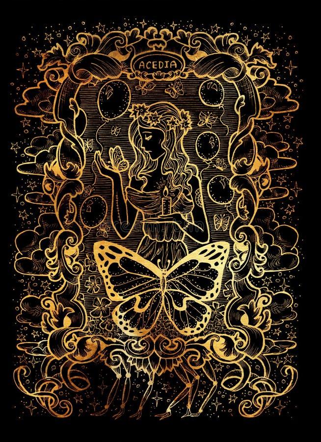 sloth O Acedia latino da palavra significa o desespero Conceito de sete pecados mortais no fundo preto ilustração royalty free