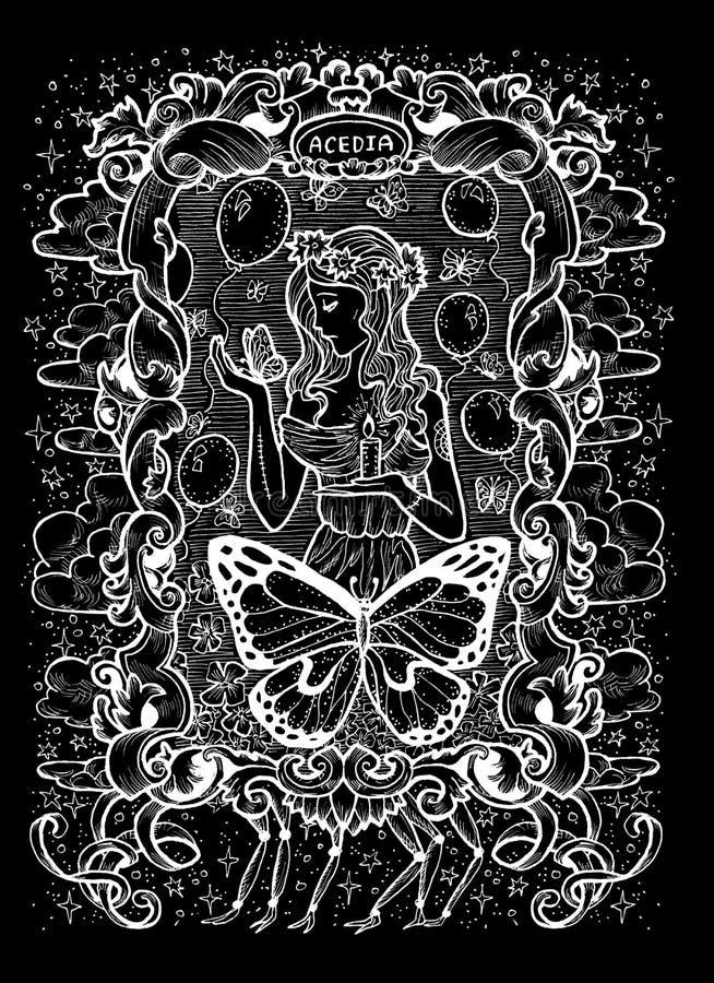 sloth O Acedia latino da palavra significa o desespero Conceito de sete pecados mortais, silhueta branca no fundo preto ilustração do vetor
