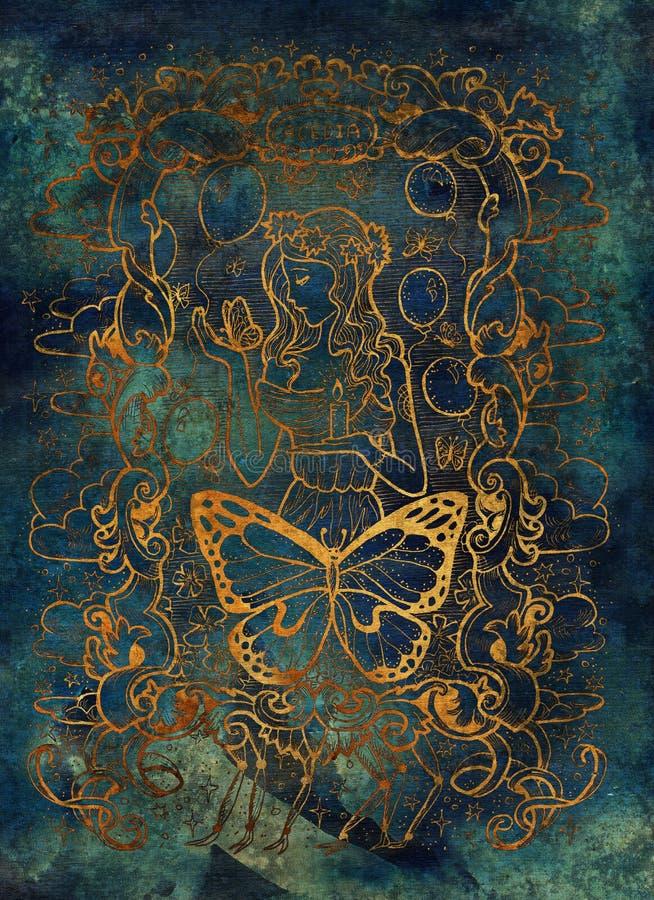sloth O Acedia latino da palavra significa o desespero Sete pecados mortais conceito, silhueta do ouro no fundo azul ilustração do vetor