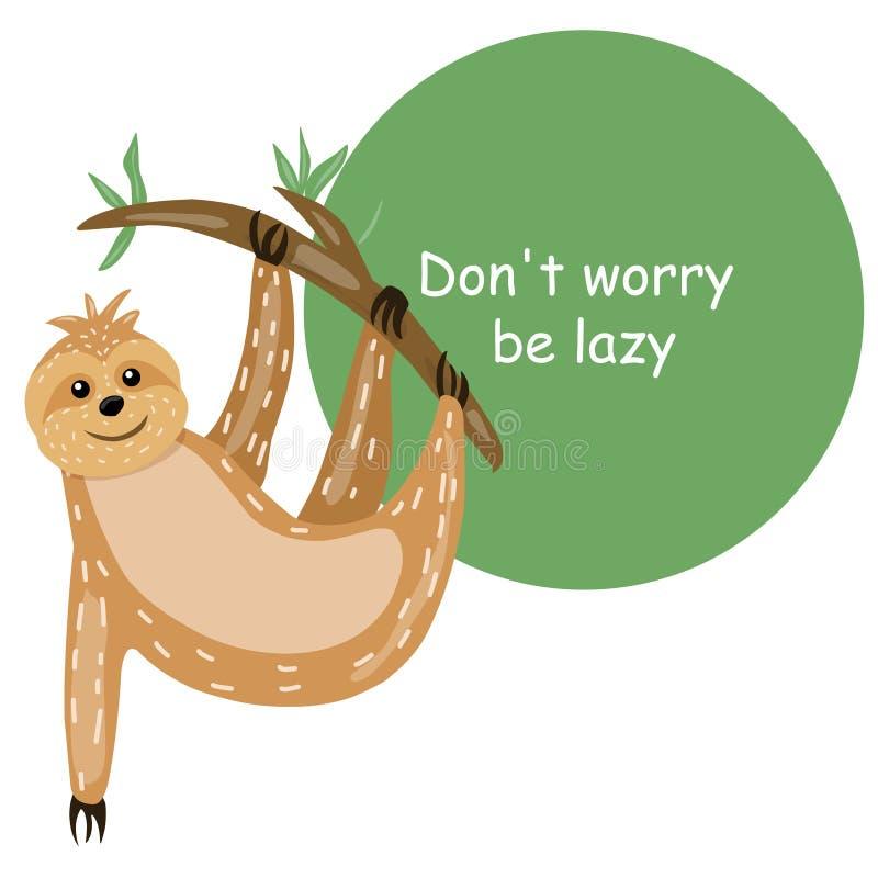 sloth Personagem de banda desenhada bonito dos animais Estilo escandinavo preguiçoso Inscrição incentivando Para imprimir em um c ilustração stock