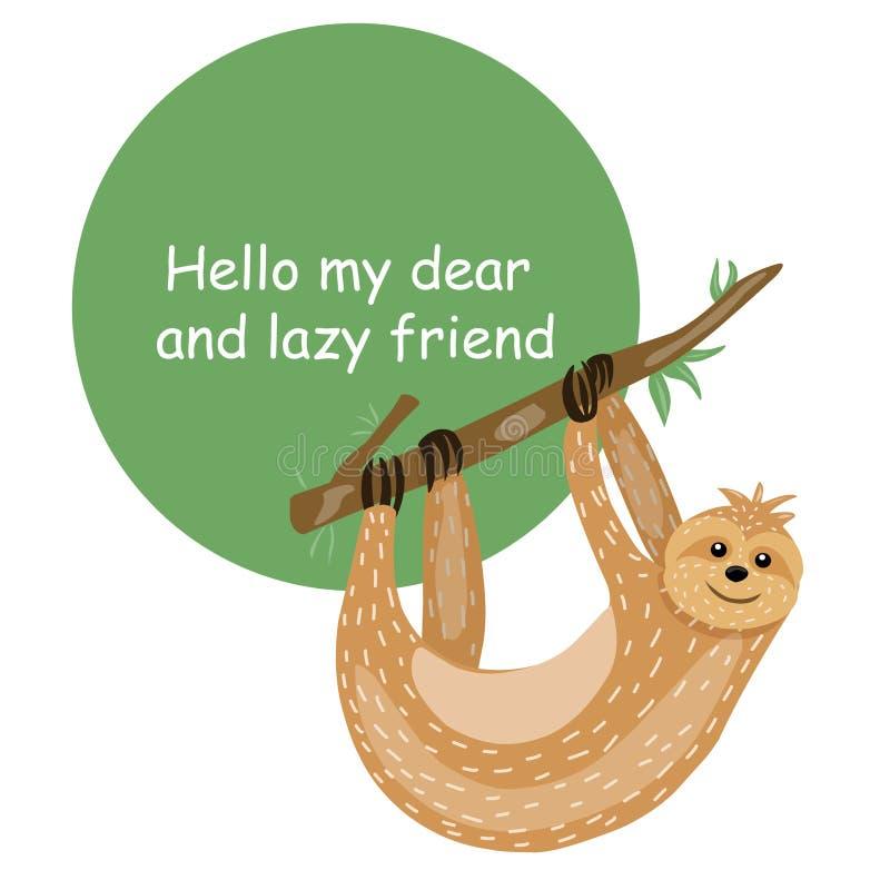 sloth Personagem de banda desenhada bonito dos animais Estilo escandinavo preguiçoso Inscrição incentivando Para imprimir em um c ilustração royalty free