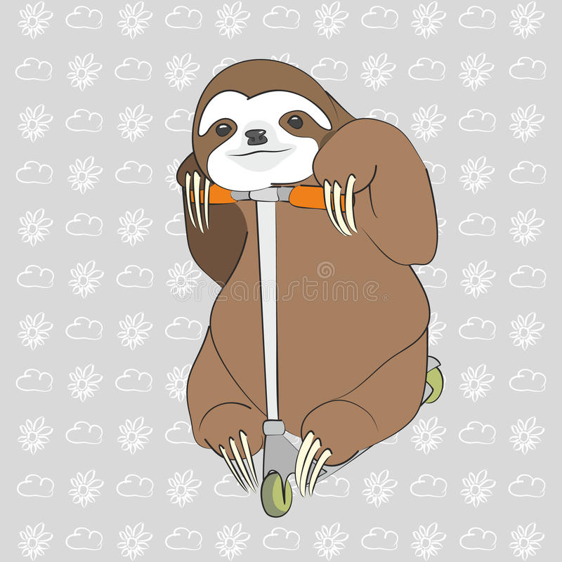 Sloth on the scooter. Brown sloth on the scooter with grey background