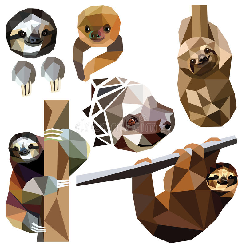 Sloth set. Colorful low poly animal designs on white background. Vector illustration. Collection in a modern style vector illustration
