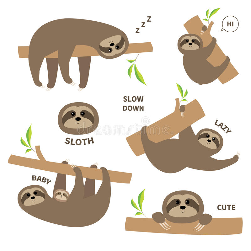 Sloth set mother with baby. Cute lazy cartoon kawaii character stock illustration