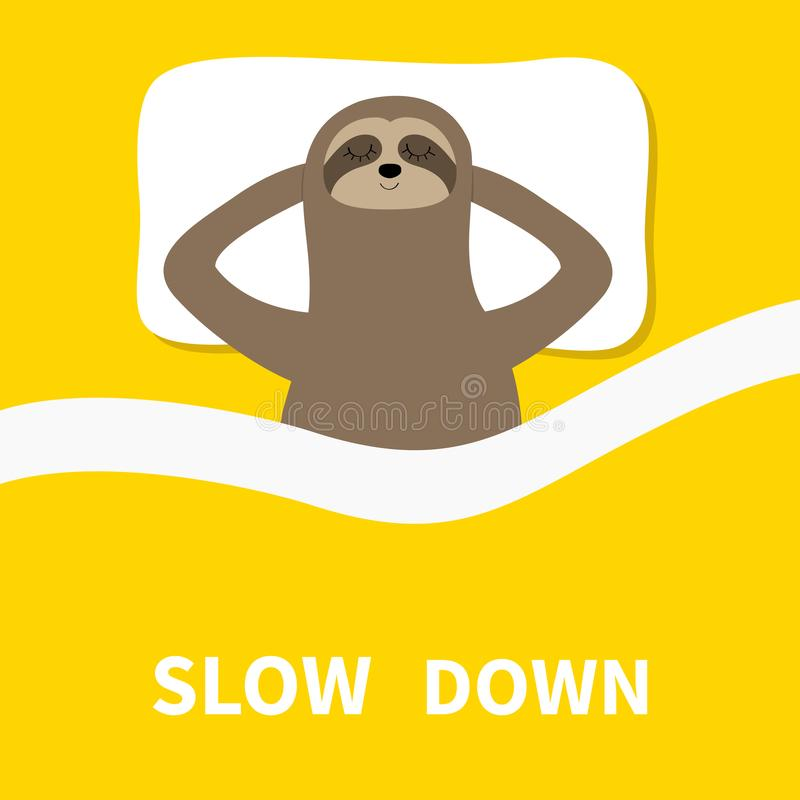 Sloth sleeping. Cant sleep going to bed concept. Slow down. Blanket pillow. Cute cartoon funny kawaii lazy character. Baby. Collection. Flat design. Yellow stock illustration