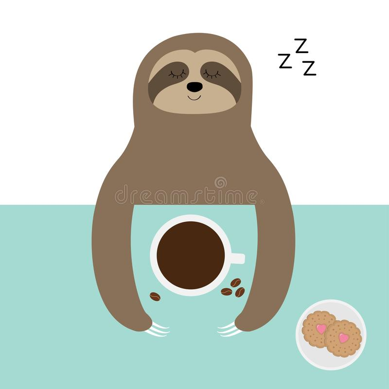 Sloth sleeping. I love coffee cup. Biscuit cookie. Sleep sign zzz. Teacup on table. Top aerial view. Cute cartoon lazy baby. Character. Wild jungle animal. Slow royalty free illustration