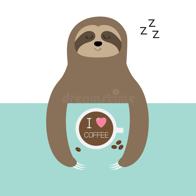 Sloth sleeping. I love coffee cup. Sleep sign zzz. Teacup on table. Top aerial view. Cute cartoon lazy baby character. Wild jungle. Animal collection. Slow down stock illustration
