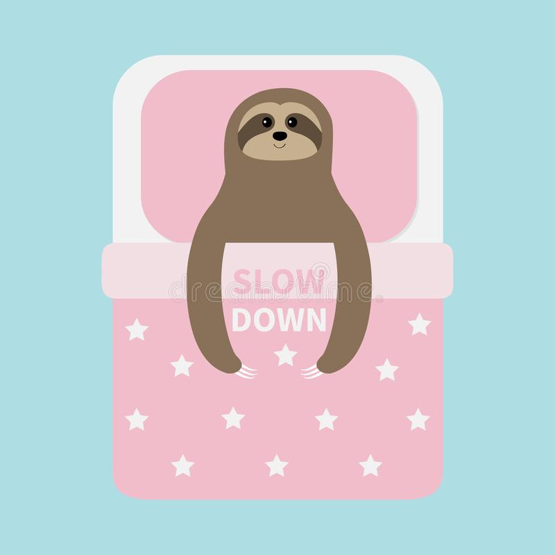 Sloth sleeping. Slow down. Cant sleep going to bed concept. Pink blanket pillow with star pattern. Cute cartoon funny kawaii lazy. Character. Baby collection stock illustration
