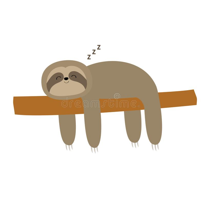 Sloth sleeping on tree branch. Cute lazy cartoon kawaii funny character. Slow down. ZZZ text. Wild joungle animal collection. Isolated. White background. Flat royalty free illustration