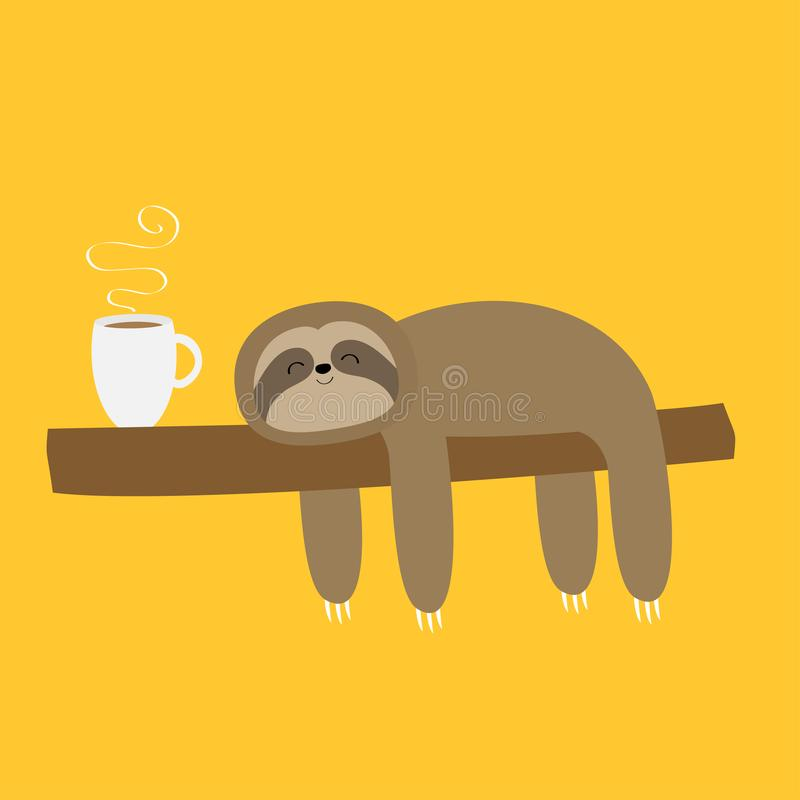 Sloth sleeping on tree branch. I love coffee cup drink. Cute lazy cartoon kawaii funny character.Slow down. Wild joungle animal. Collection. Isolated. Yellow royalty free illustration