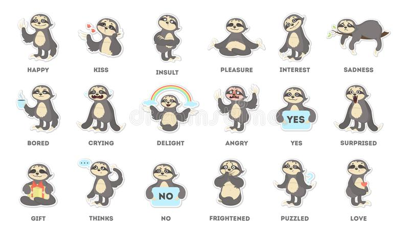 Sloth sticker set. Sad and fun, angry and surprised royalty free illustration