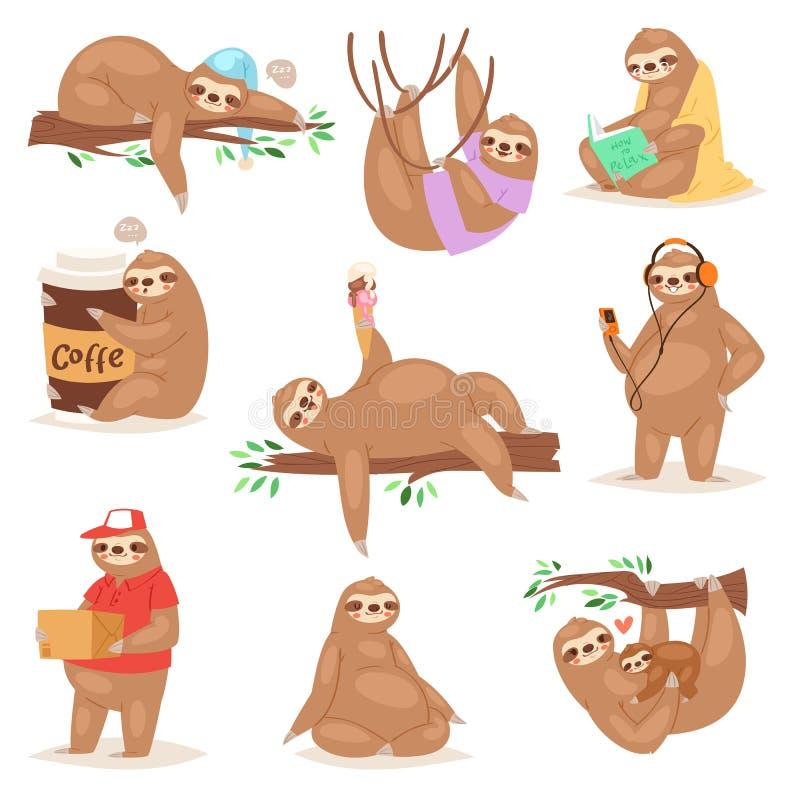 Sloth vector slothful animal character playing or sleeping in slothfulness illustration set of lazy sloths reading book. Or eating icecream lazily isolated on royalty free illustration