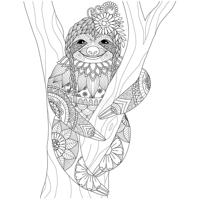 Sloth. Zentangle design for coloring book for adult and other decorations royalty free illustration