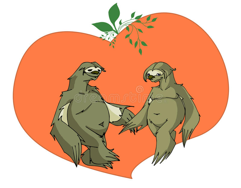 Sloths in love royalty free illustration
