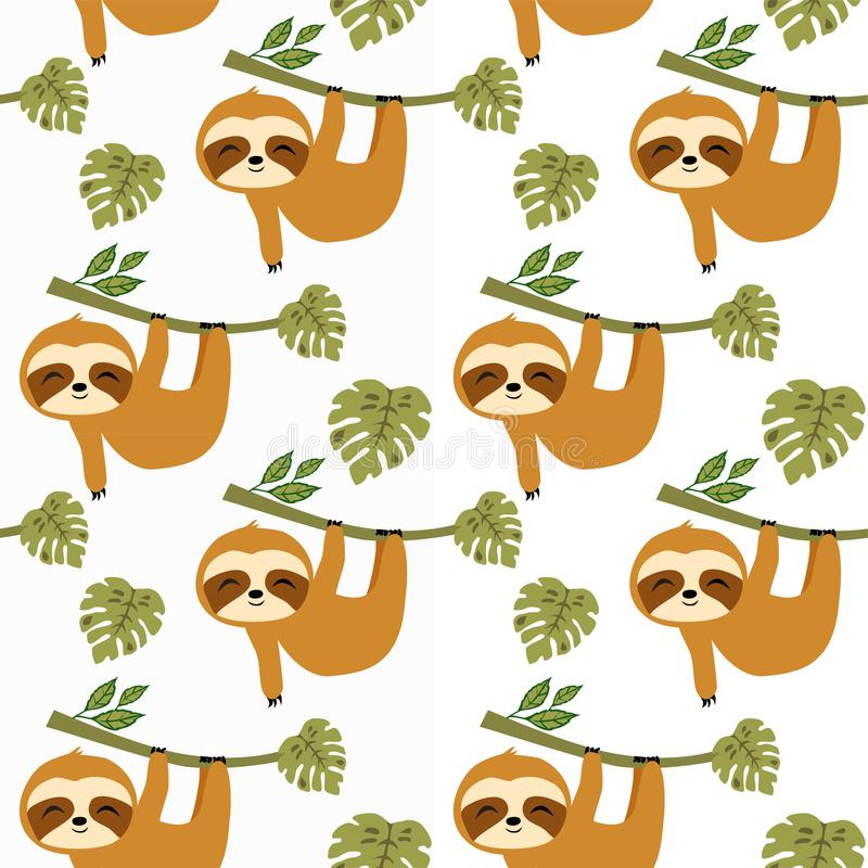 Sloths in Tropical Jungle Seamless Pattern, sloths Repeat Pattern for baby cloth, textile design, fabric print, fashion or backgro. Sloths in Tropical Jungle royalty free illustration